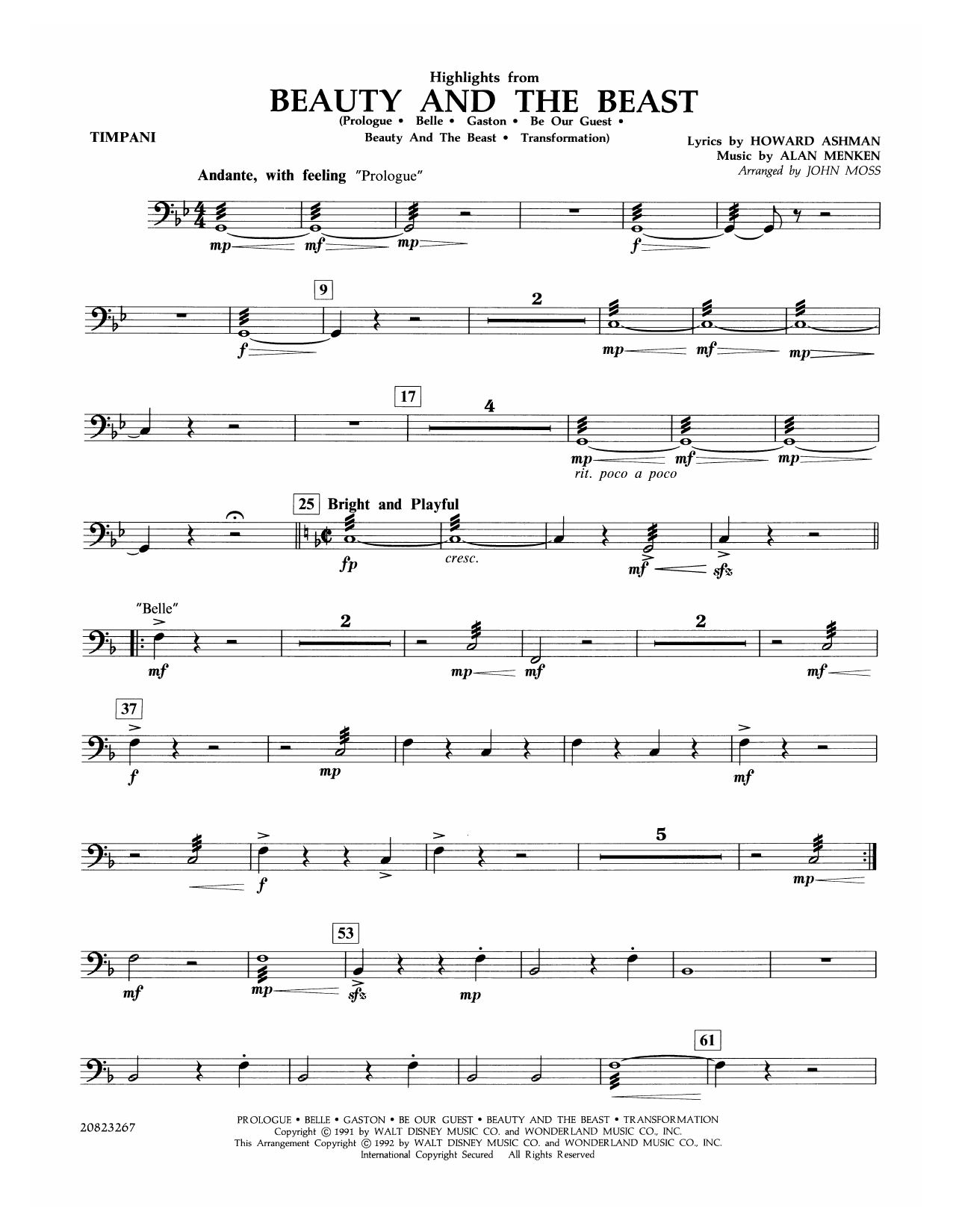 Highlights from Beauty and the Beast - Timpani Sheet Music