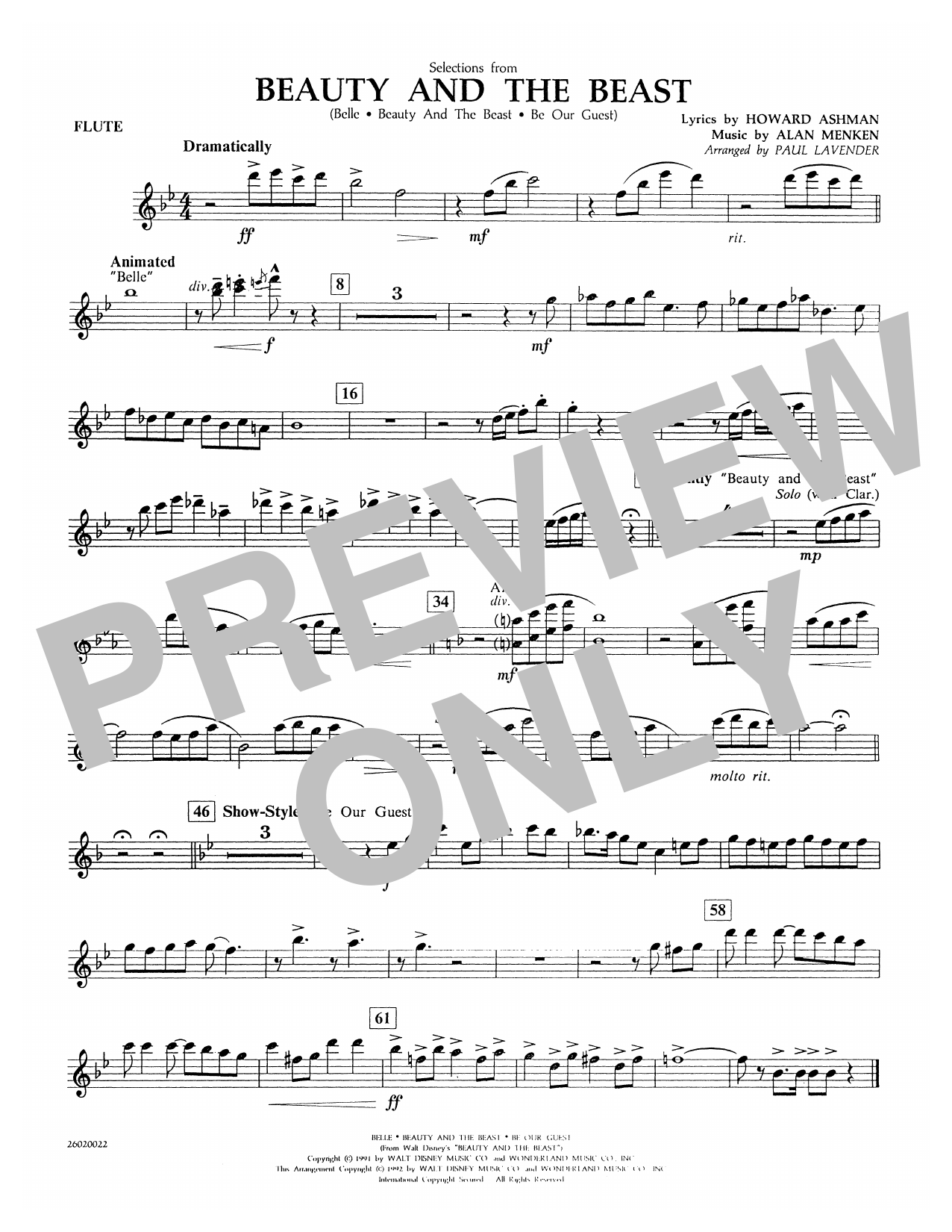 Selections from Beauty and the Beast - Flute Sheet Music