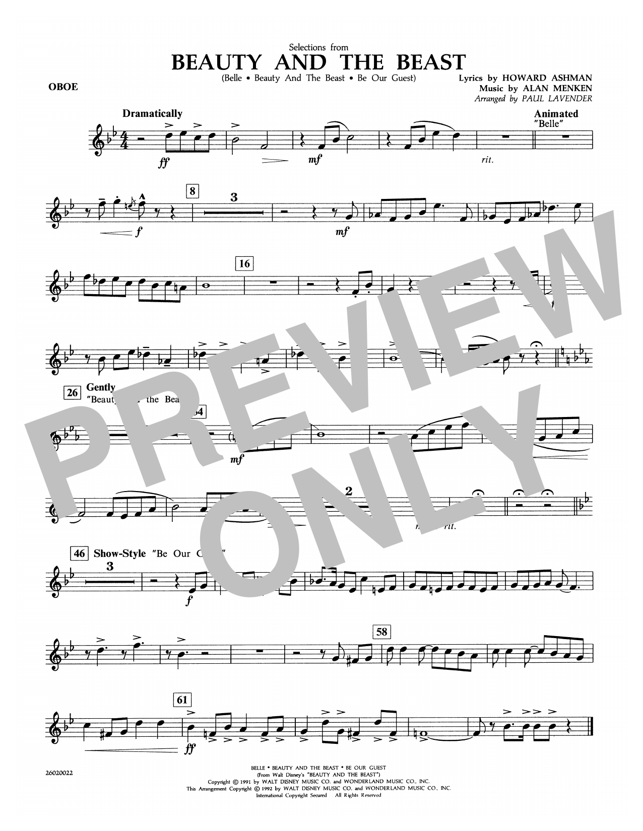 Selections from Beauty and the Beast - Oboe Sheet Music