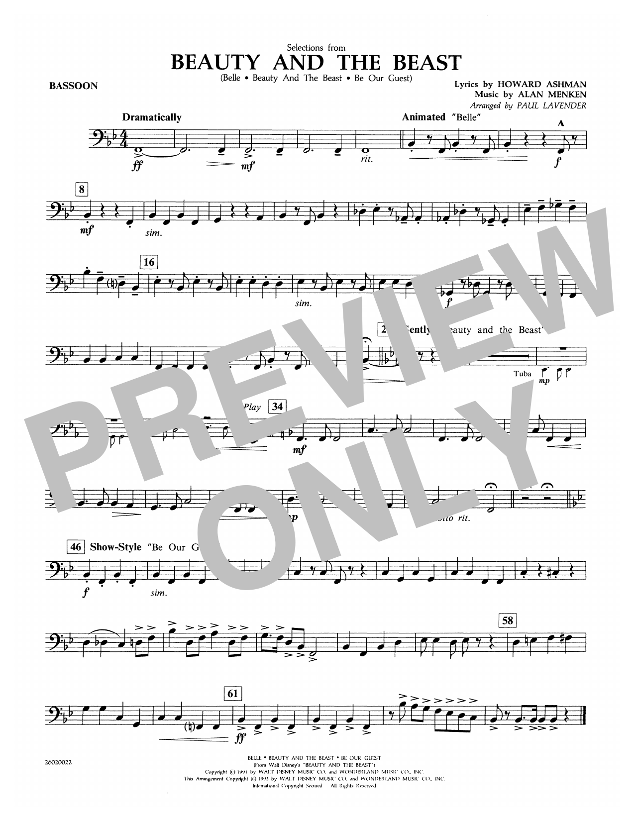 Selections from Beauty and the Beast - Bassoon Partition Digitale