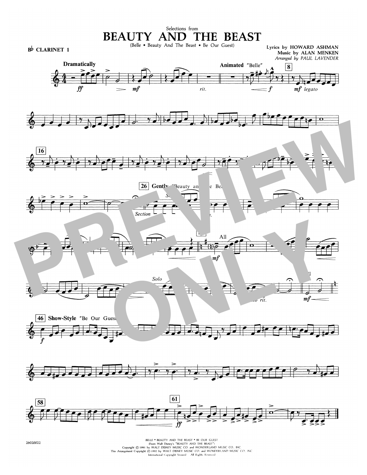 Selections from Beauty and the Beast - Bb Clarinet 1 Sheet Music