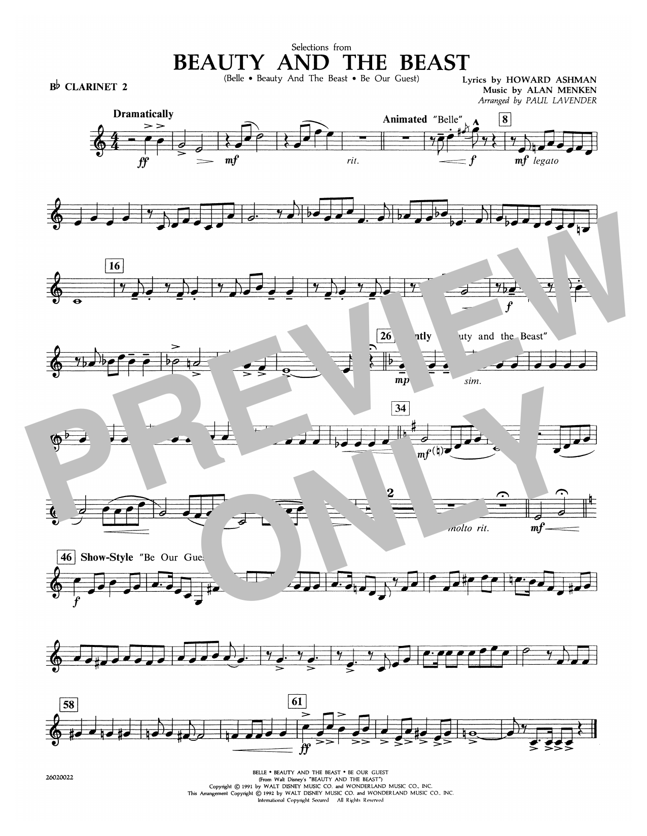 Selections from Beauty and the Beast - Bb Clarinet 2 Sheet Music