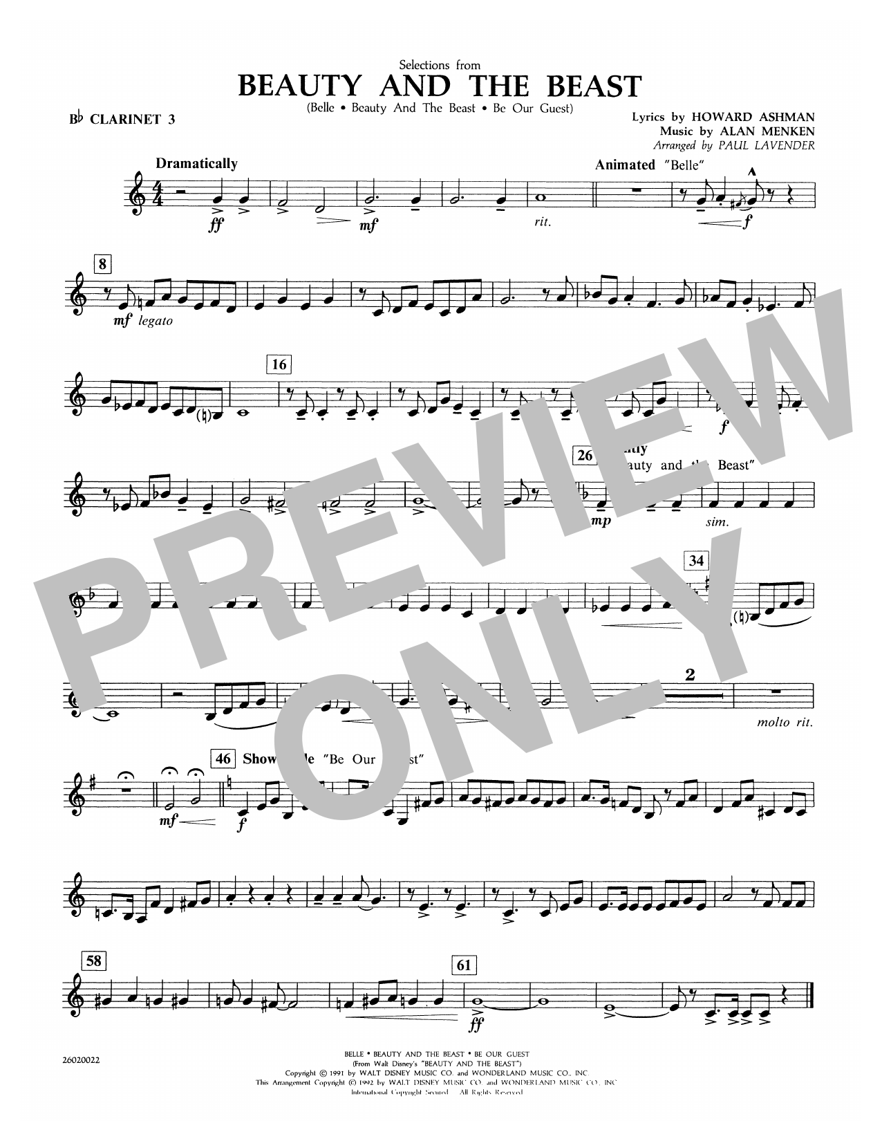 Selections from Beauty and the Beast - Bb Clarinet 3 Sheet Music