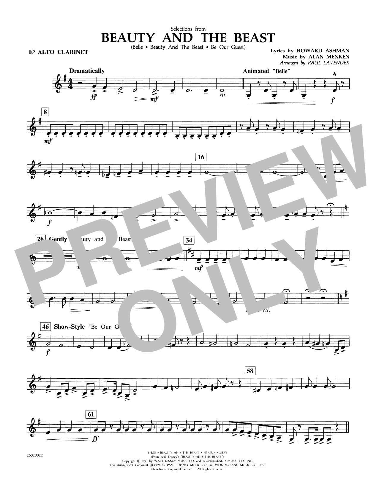 Selections from Beauty and the Beast - Eb Alto Clarinet Sheet Music