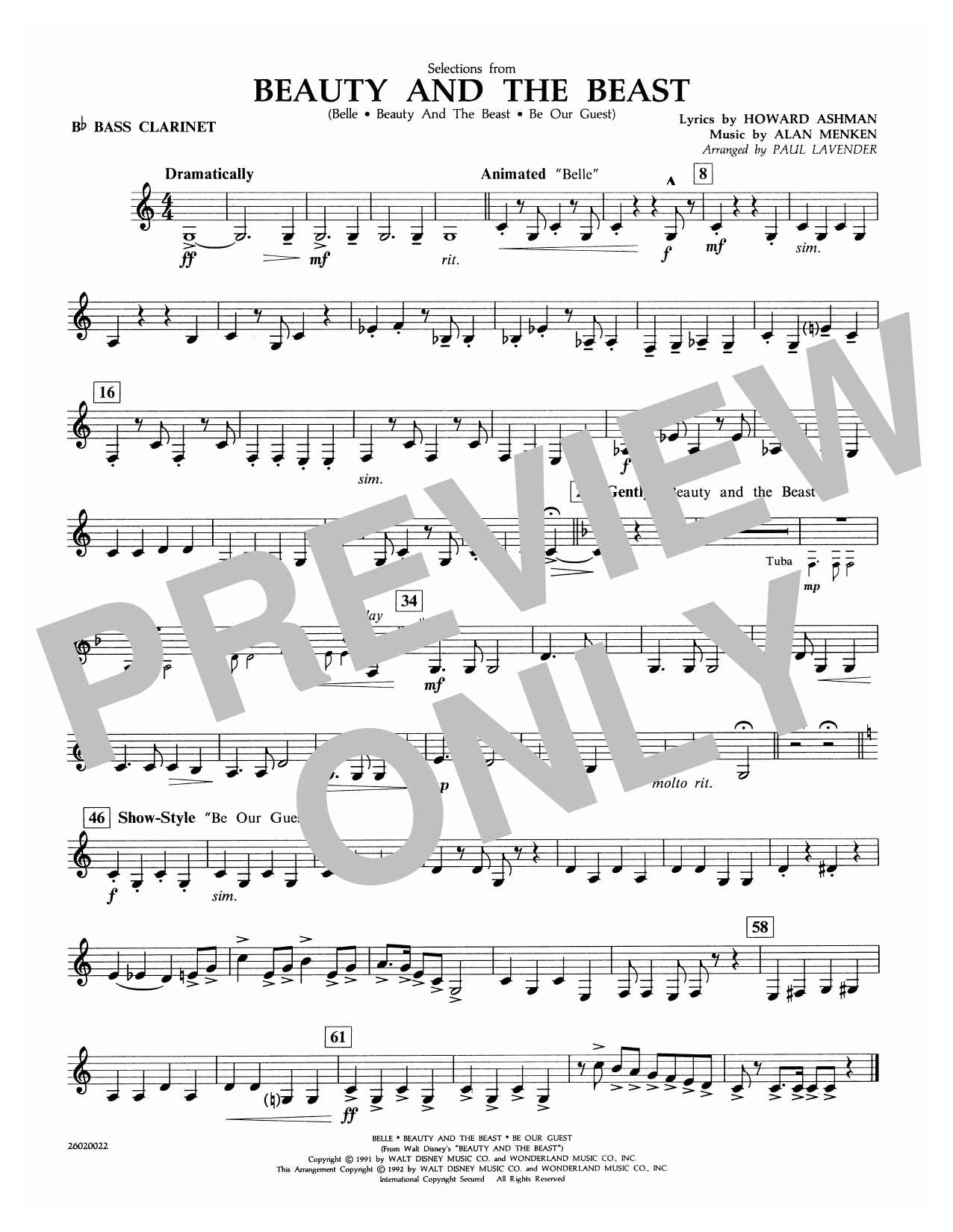Selections from Beauty and the Beast - Bb Bass Clarinet Sheet Music