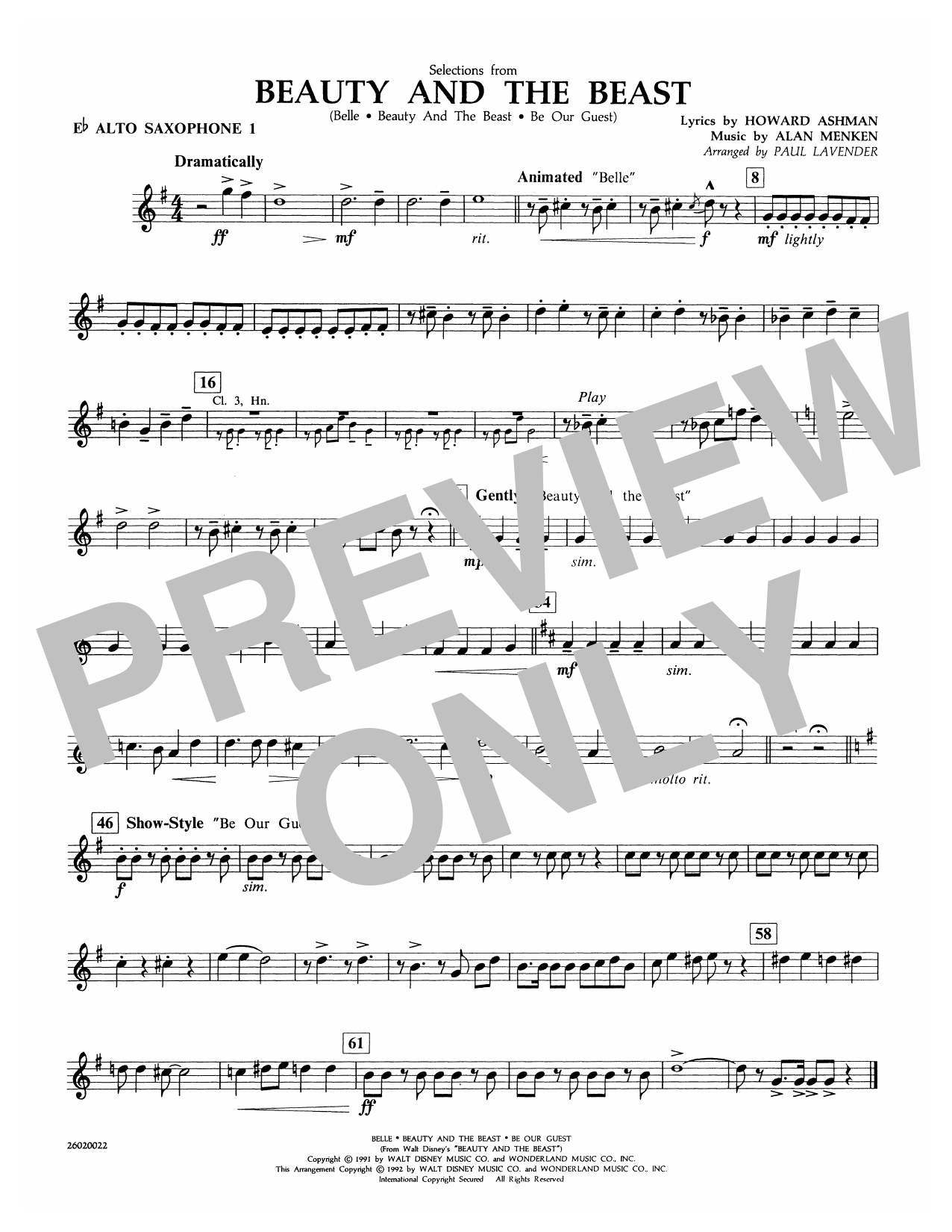 Selections from Beauty and the Beast - Eb Alto Sax 1 Partition Digitale