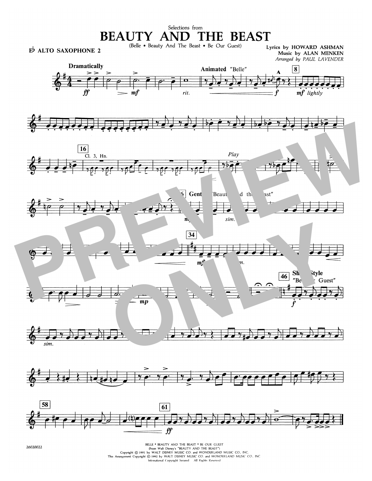 Selections from Beauty and the Beast - Eb Alto Sax 2 Sheet Music