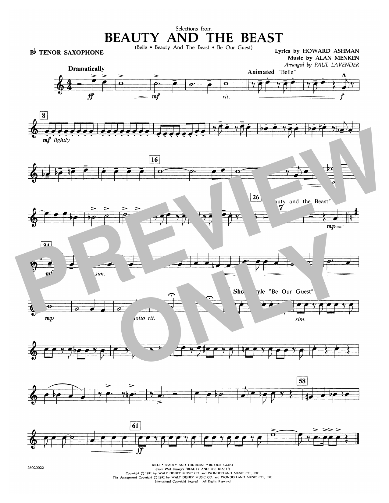 Selections from Beauty and the Beast - Bb Tenor Sax Sheet Music