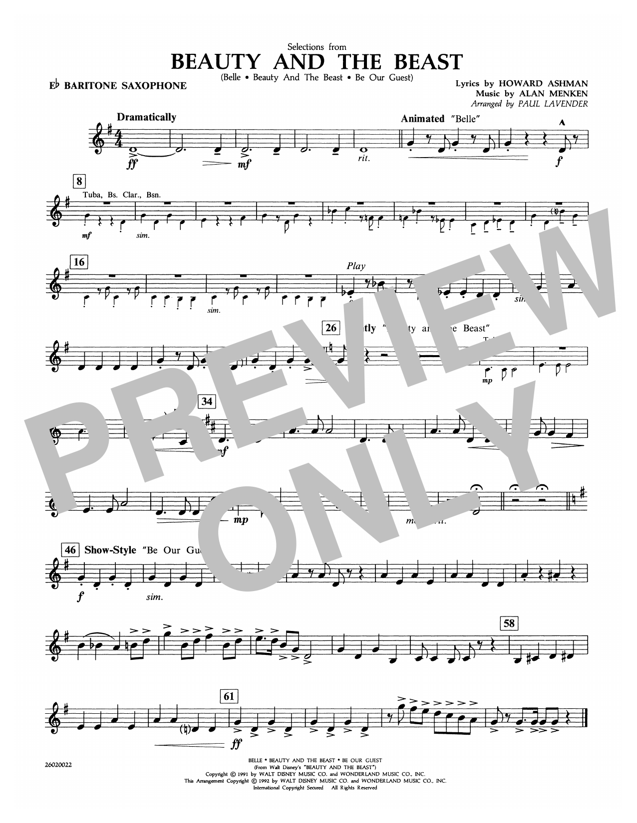 Selections from Beauty and the Beast - Eb Baritone Sax Sheet Music