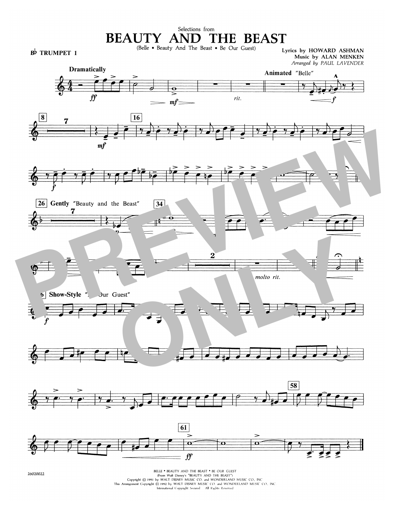 Selections from Beauty and the Beast - Bb Trumpet 1 Sheet Music