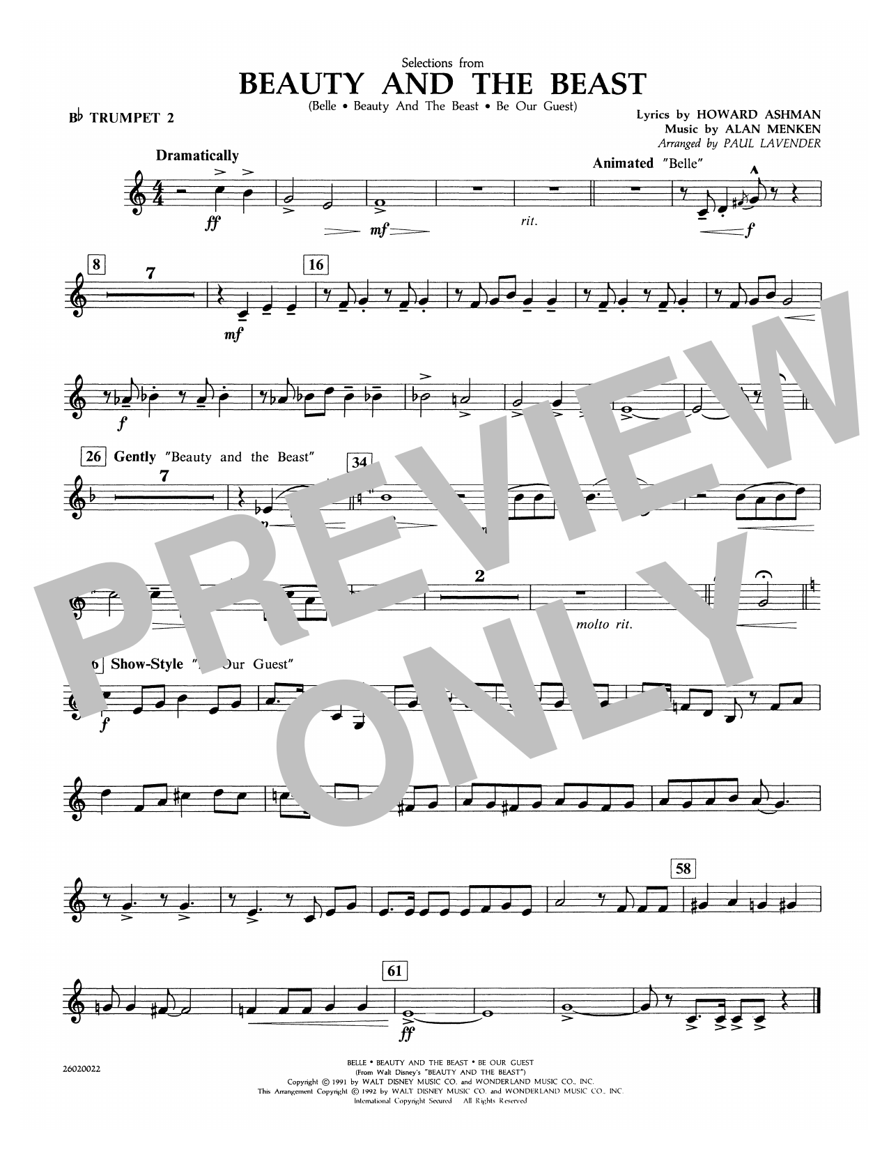 Selections from Beauty and the Beast - Bb Trumpet 2 Sheet Music