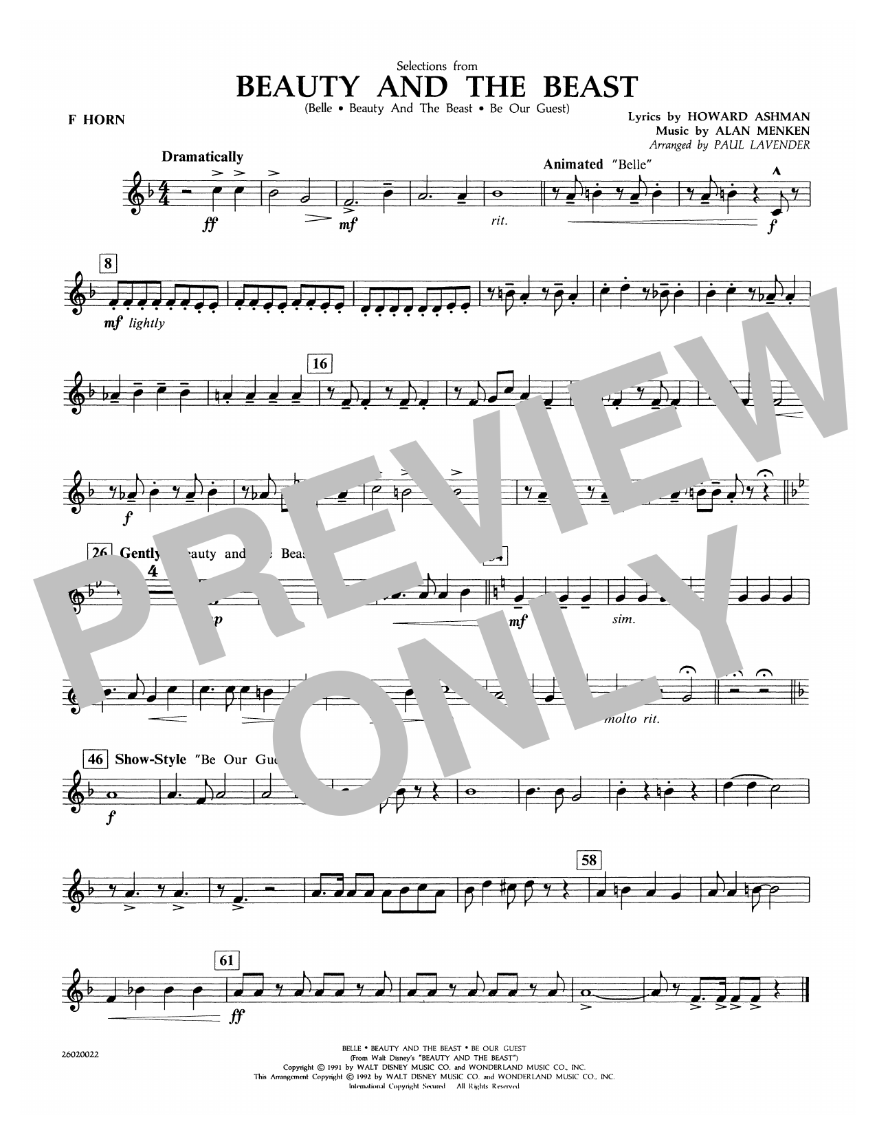 Selections from Beauty and the Beast - F Horn Partituras Digitales