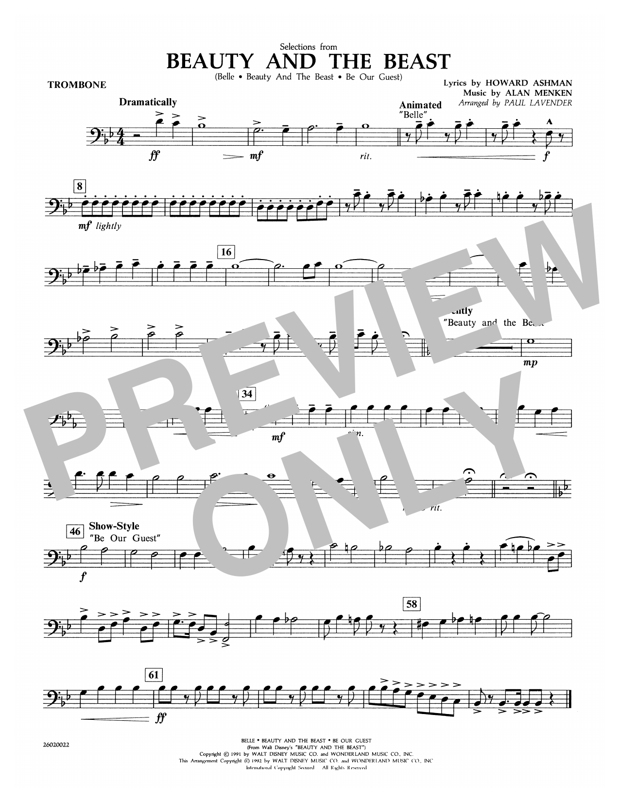 Selections from Beauty and the Beast - Trombone Sheet Music