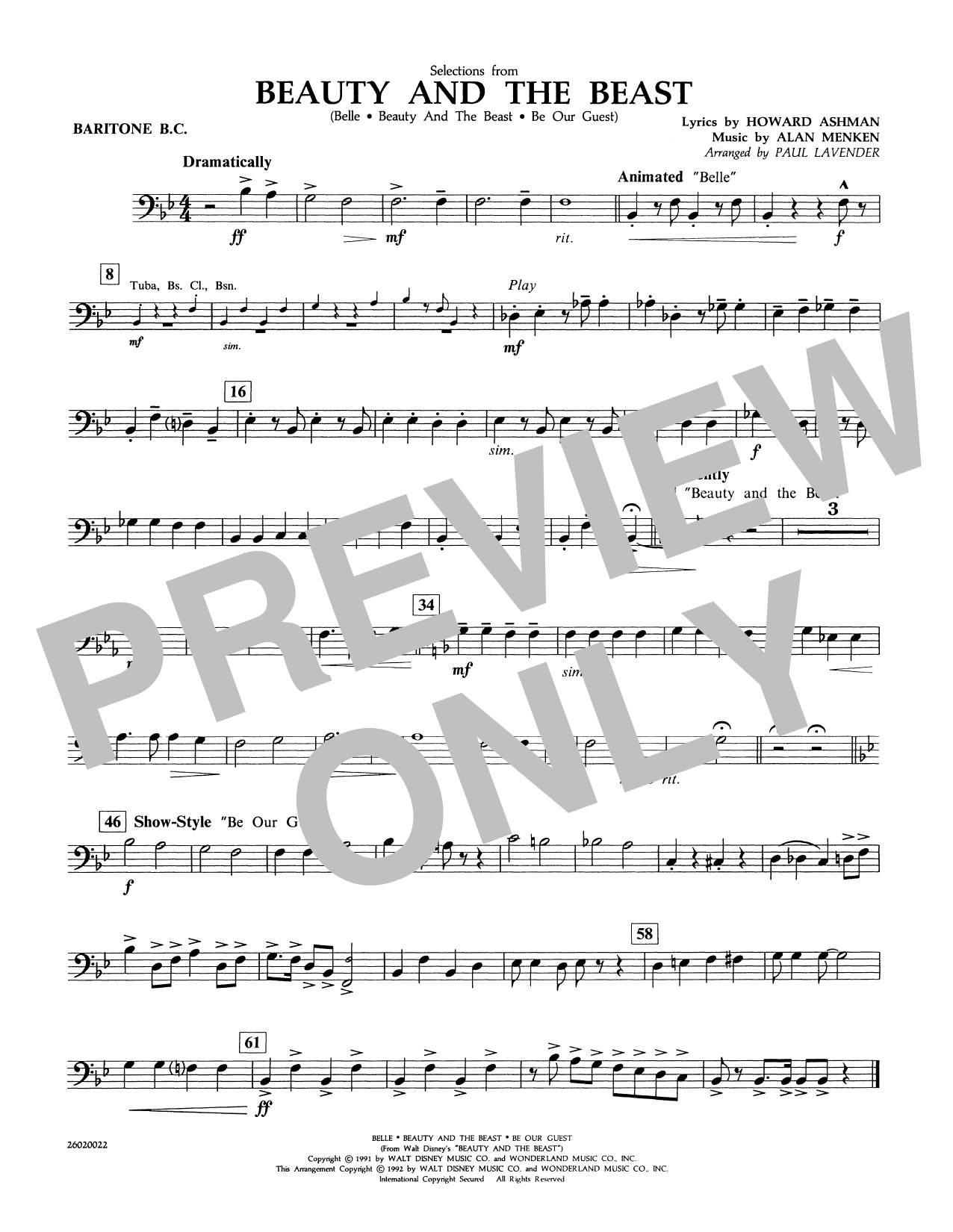 Selections from Beauty and the Beast - Baritone B.C. Sheet Music