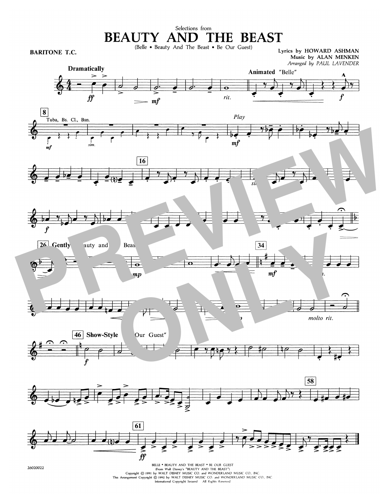 Selections from Beauty and the Beast - Baritone T.C. Sheet Music