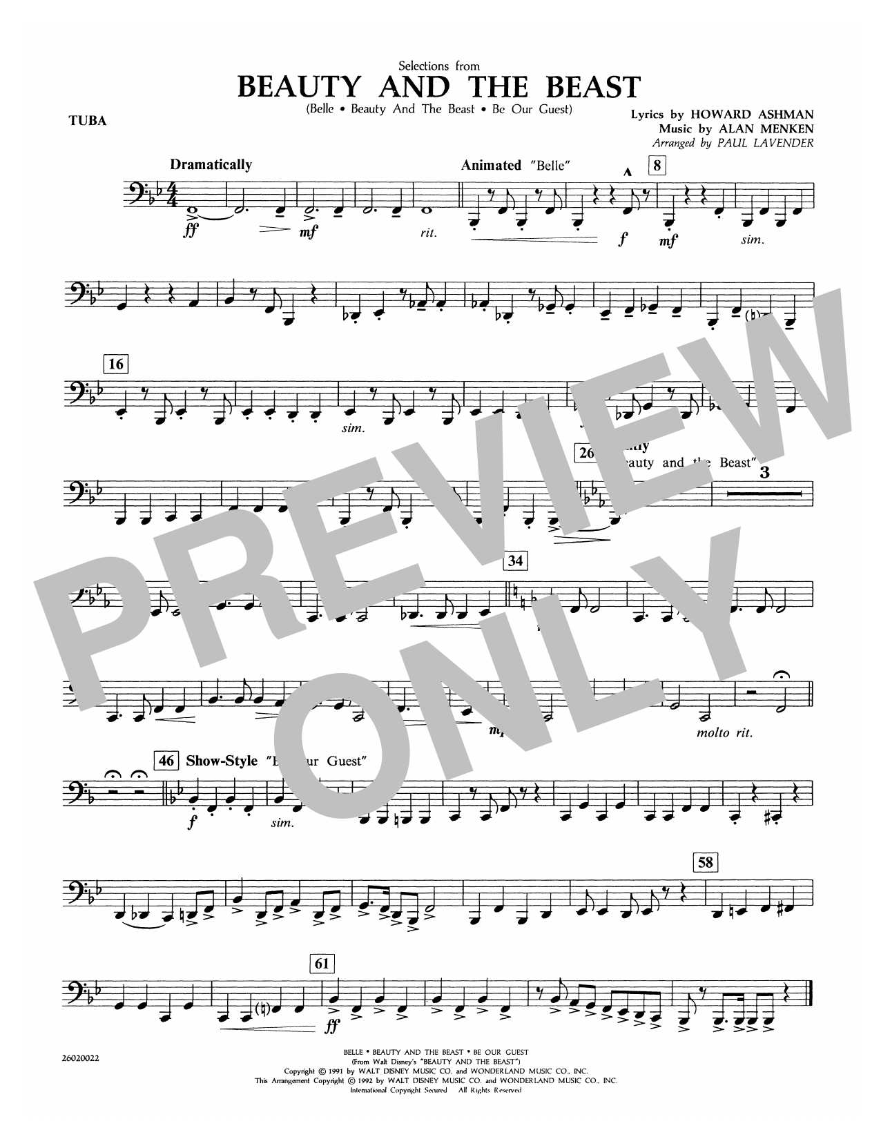 Selections from Beauty and the Beast - Tuba Sheet Music