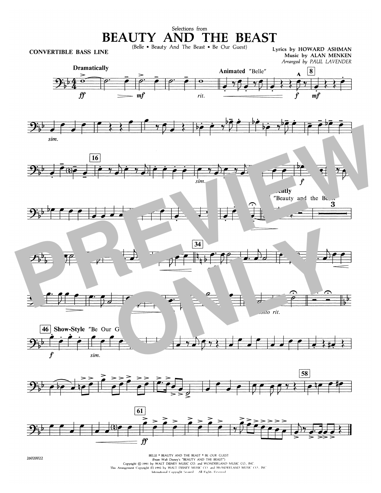 Selections from Beauty and the Beast - Convertible Bass Line (Concert Band)