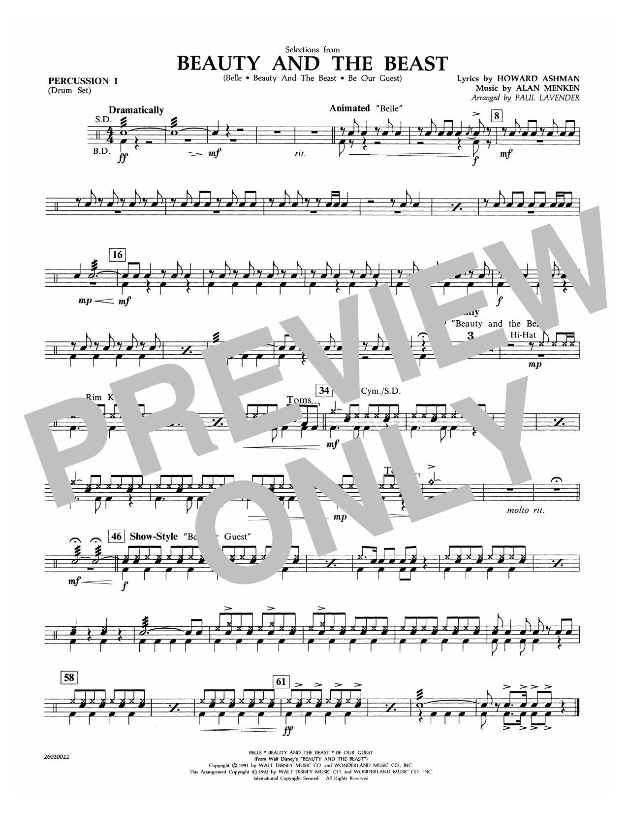 Selections from Beauty and the Beast - Percussion 1 Sheet Music