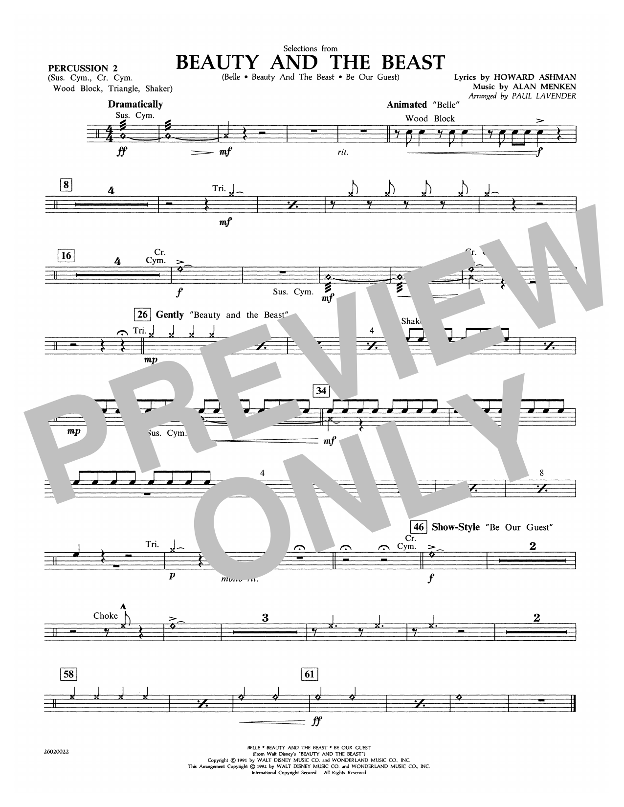 Selections from Beauty and the Beast - Percussion 2 Sheet Music