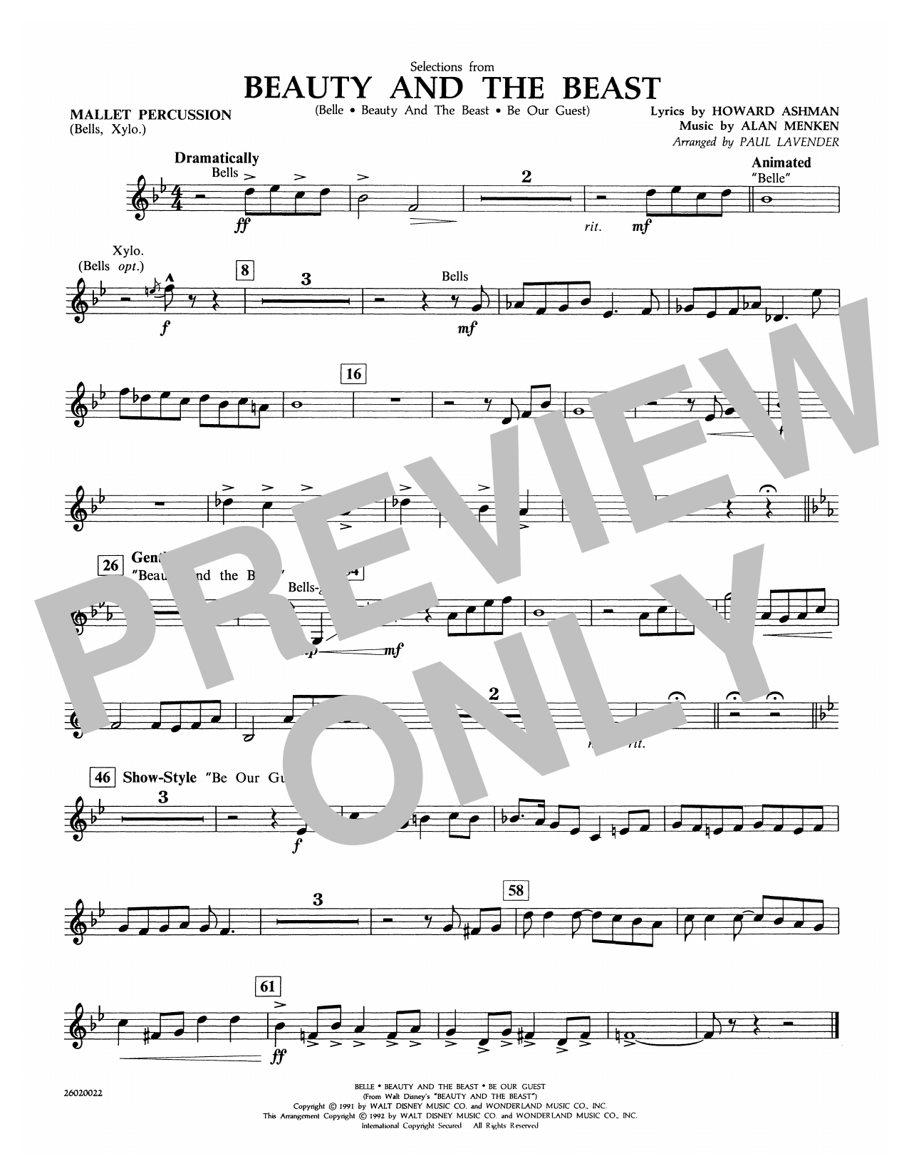 Selections from Beauty and the Beast - Mallet Percussion Sheet Music