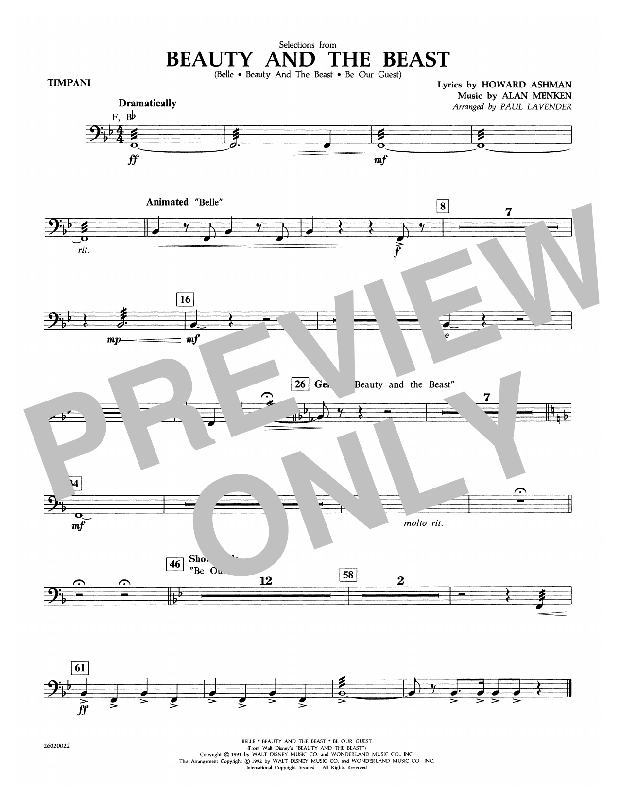 Selections from Beauty and the Beast - Timpani Sheet Music