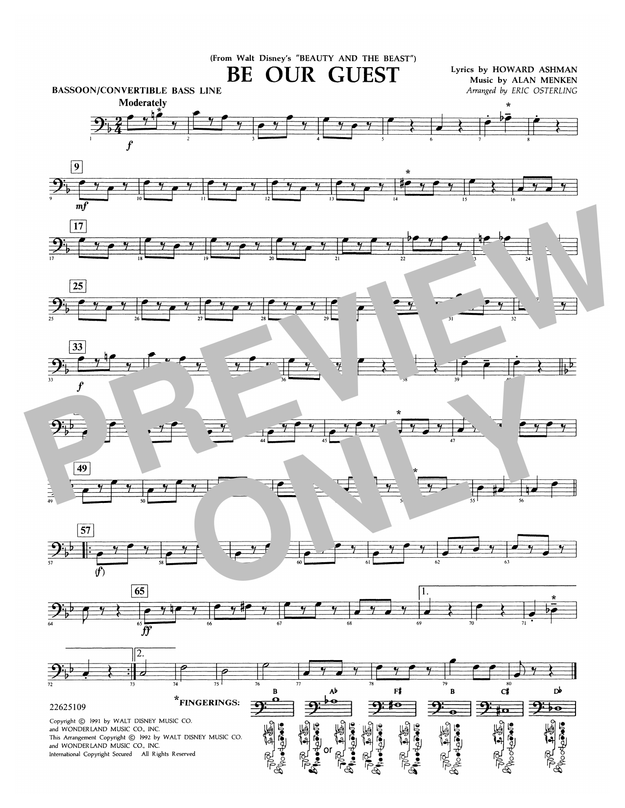 Be Our Guest (from Beauty And The Beast) (arr. Eric Osterling) - Bassoon/Convertible Bass Line Sheet Music