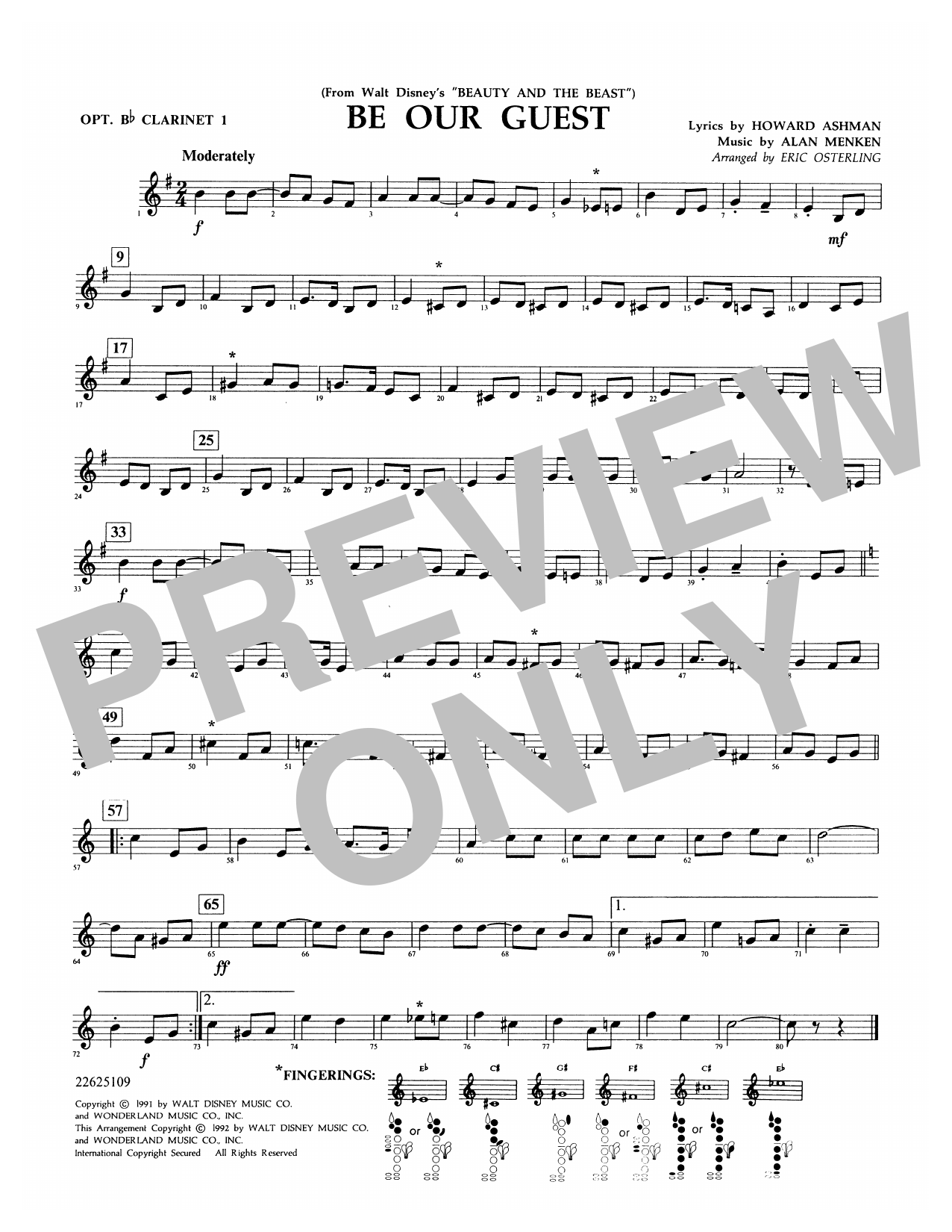 Be Our Guest (from Beauty And The Beast) (arr. Eric Osterling) - Opt. Bb Clarinet 1 Sheet Music