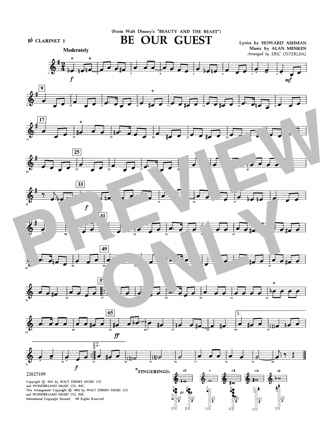 Be Our Guest (from Beauty And The Beast) (arr. Eric Osterling) - Bb Clarinet 1 Sheet Music