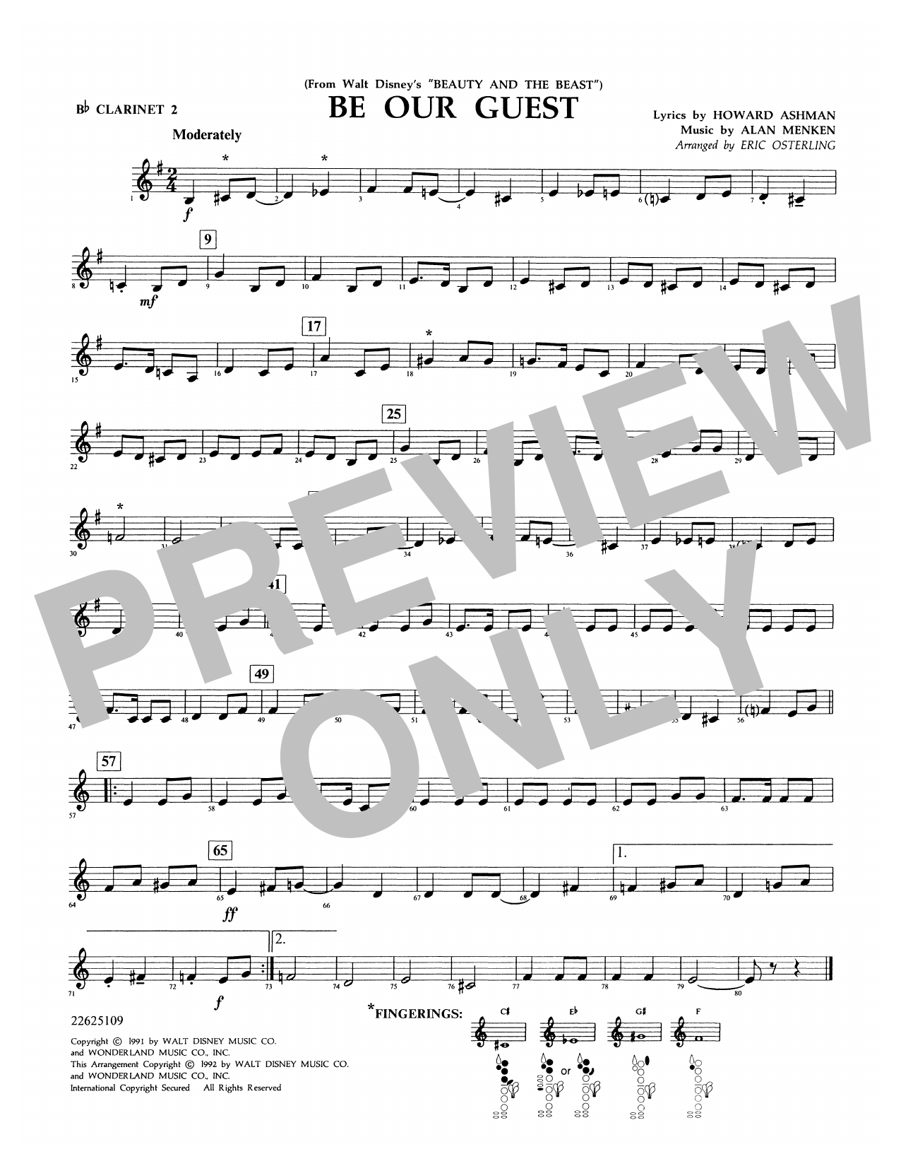 Be Our Guest (from Beauty And The Beast) (arr. Eric Osterling) - Bb Clarinet 2 Sheet Music