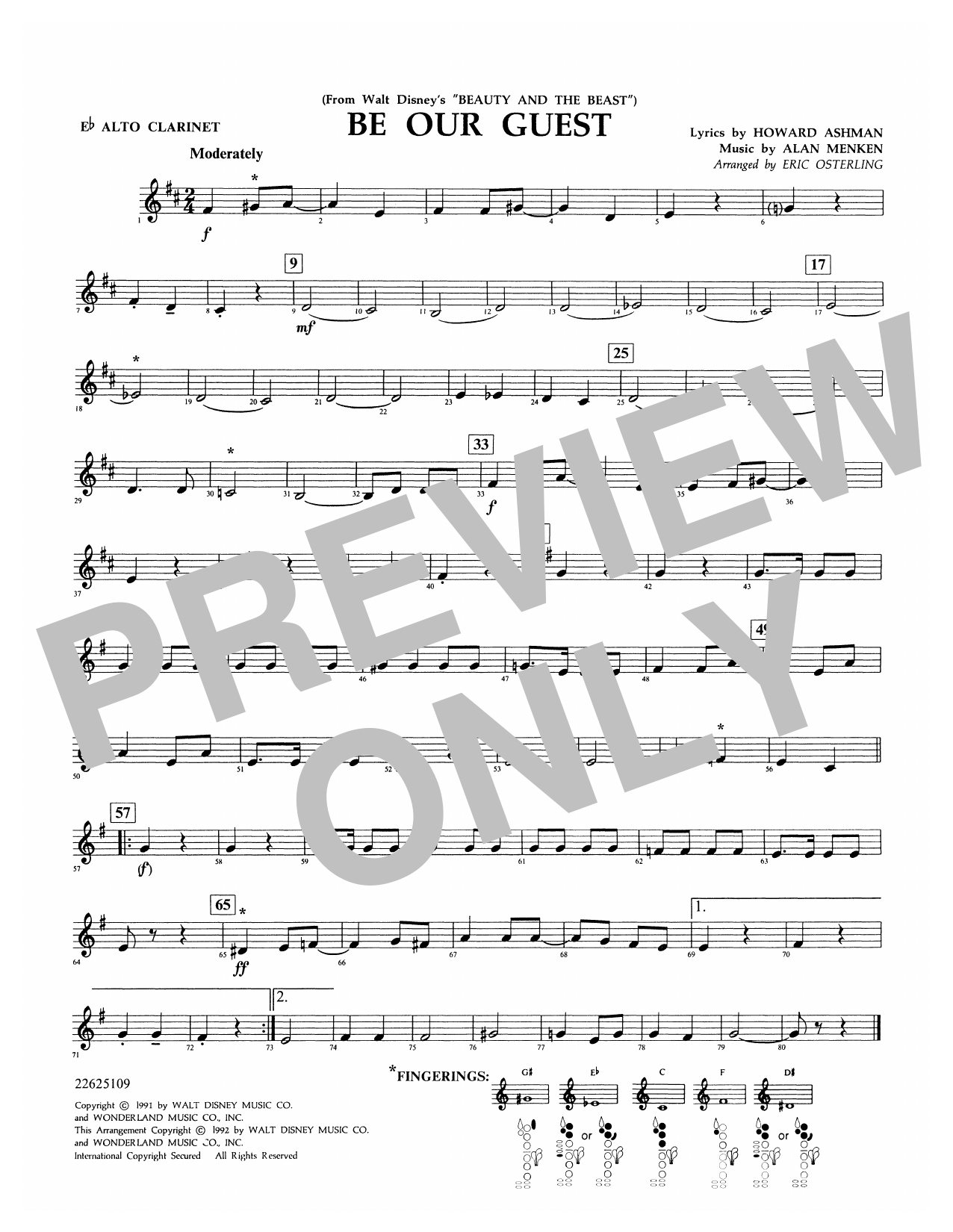 Be Our Guest (from Beauty And The Beast) (arr. Eric Osterling) - Eb Alto Clarinet Sheet Music