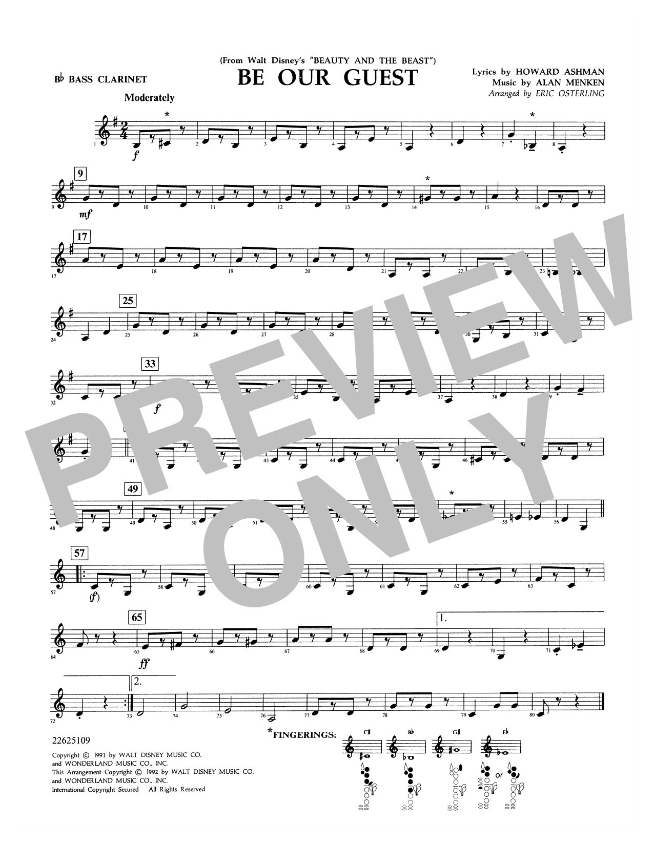Be Our Guest (from Beauty And The Beast) (arr. Eric Osterling) - Bb Bass Clarinet Sheet Music