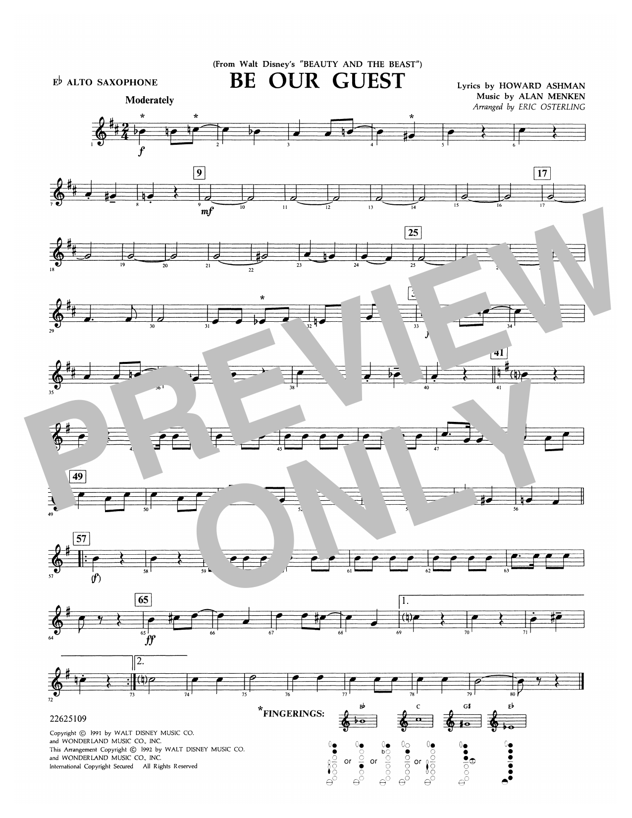 Be Our Guest - Eb Alto Saxophone Sheet Music