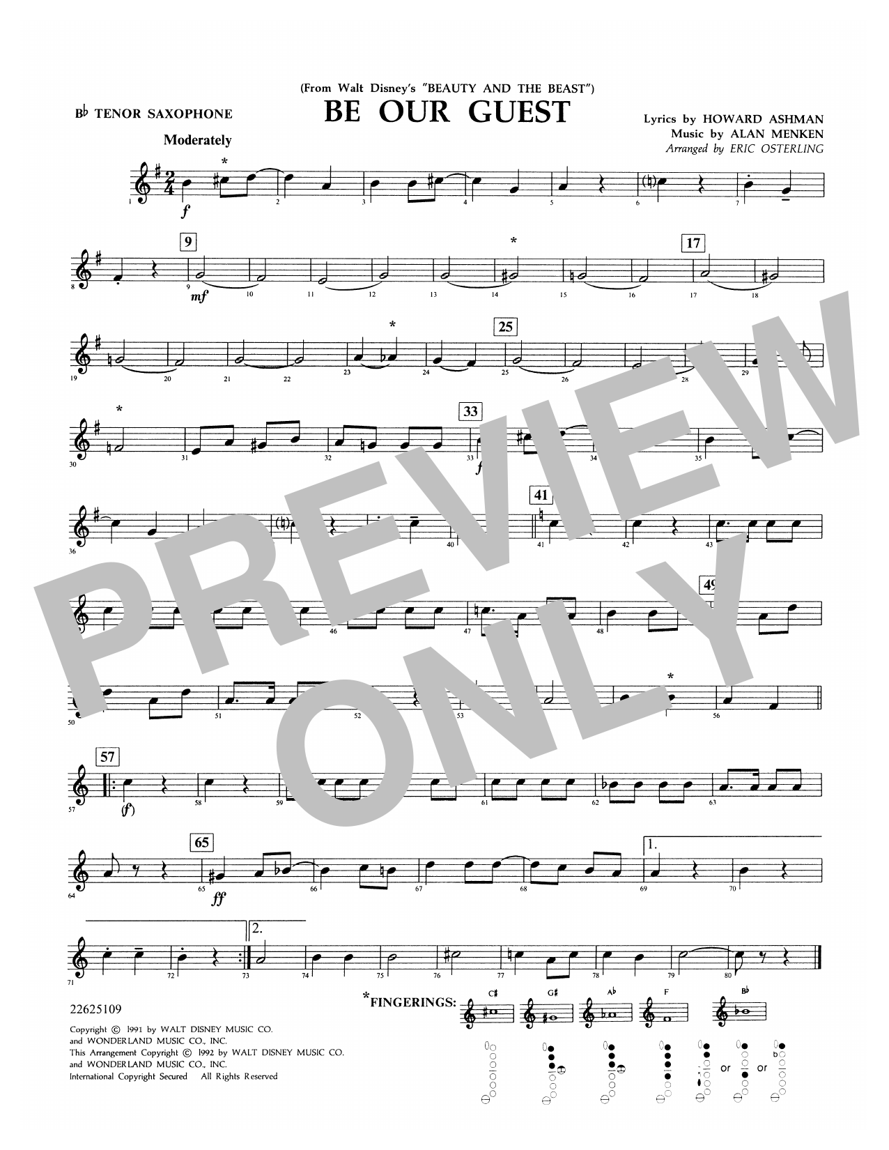 Be Our Guest (from Beauty And The Beast) (arr. Eric Osterling) - Bb Tenor Saxophone Digitale Noten