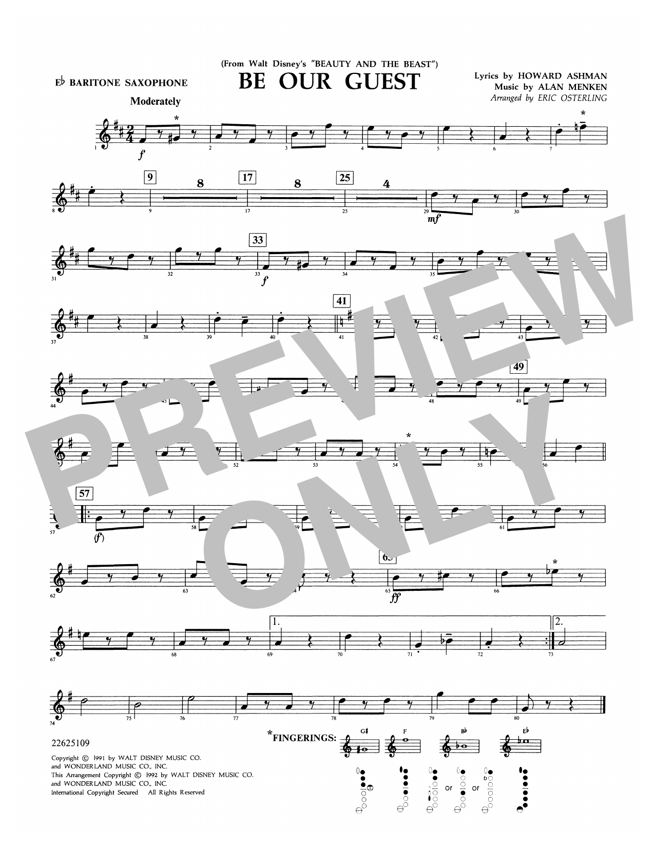 Be Our Guest (from Beauty And The Beast) (arr. Eric Osterling) - Eb Baritone Saxophone Sheet Music