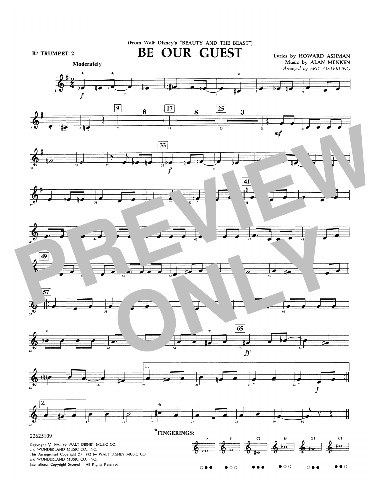 Be Our Guest (from Beauty And The Beast) (arr. Eric Osterling) - Bb Trumpet 2 Sheet Music