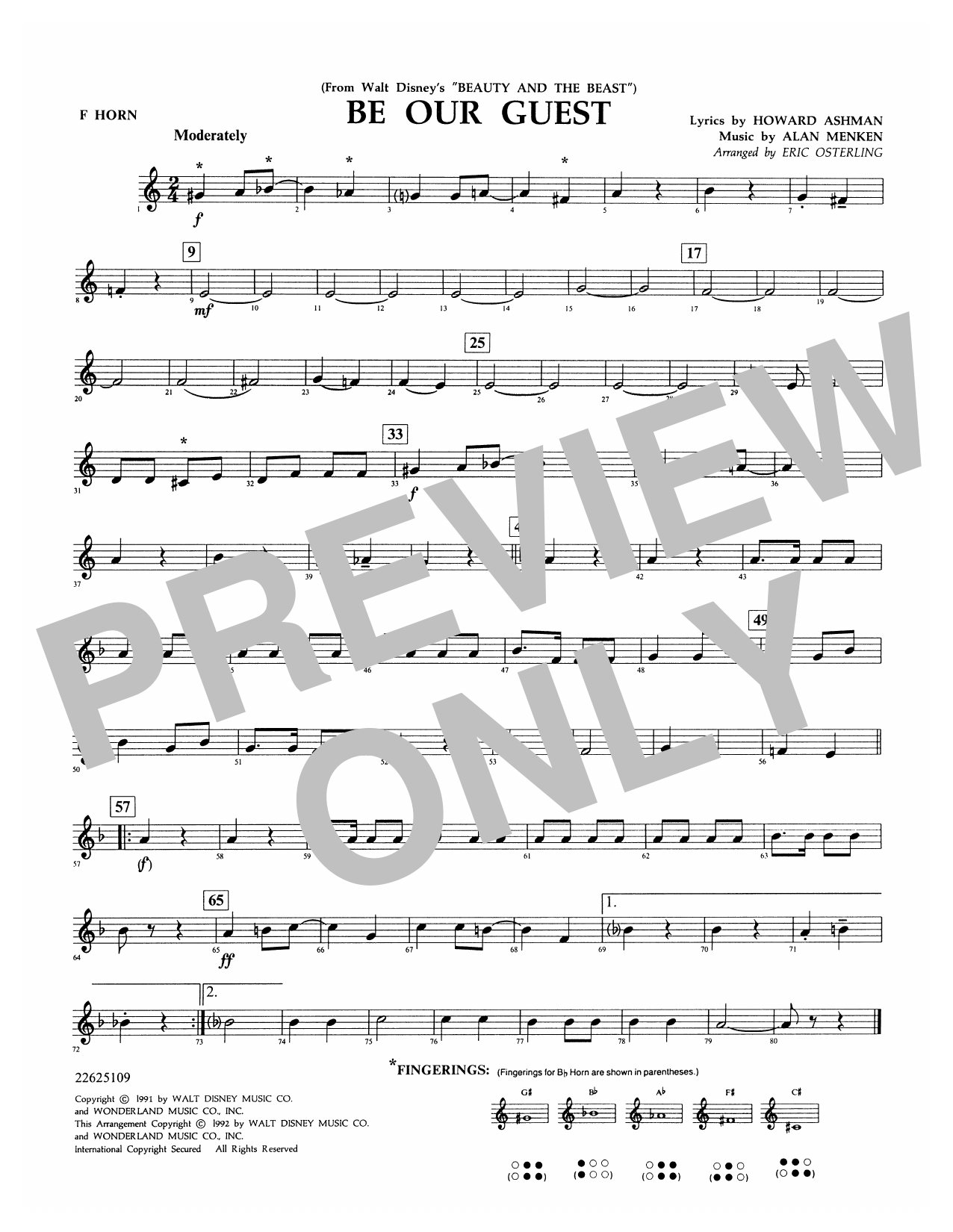 Be Our Guest - F Horn Sheet Music