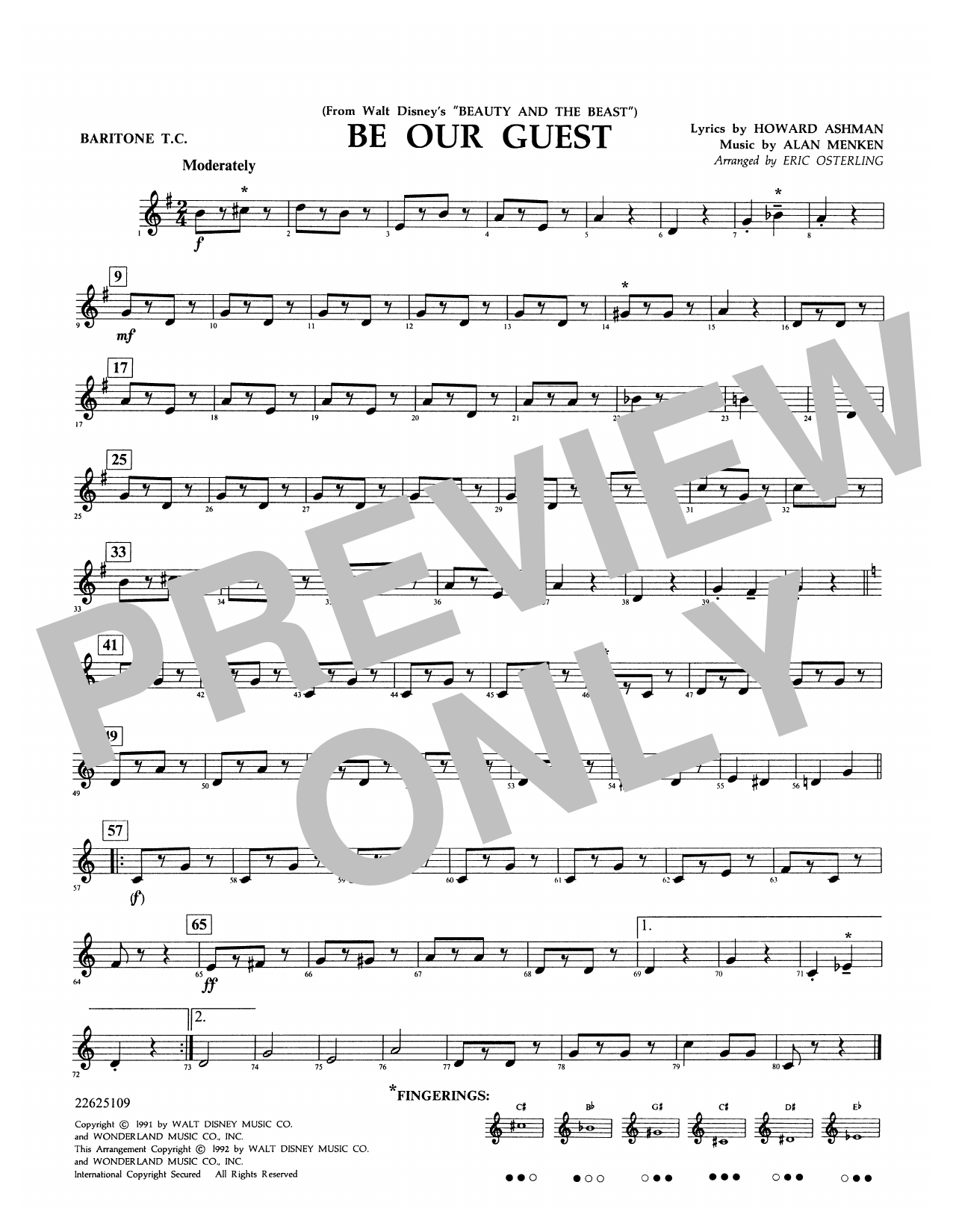 Be Our Guest (from Beauty And The Beast) (arr. Eric Osterling) - Baritone T.C. Sheet Music