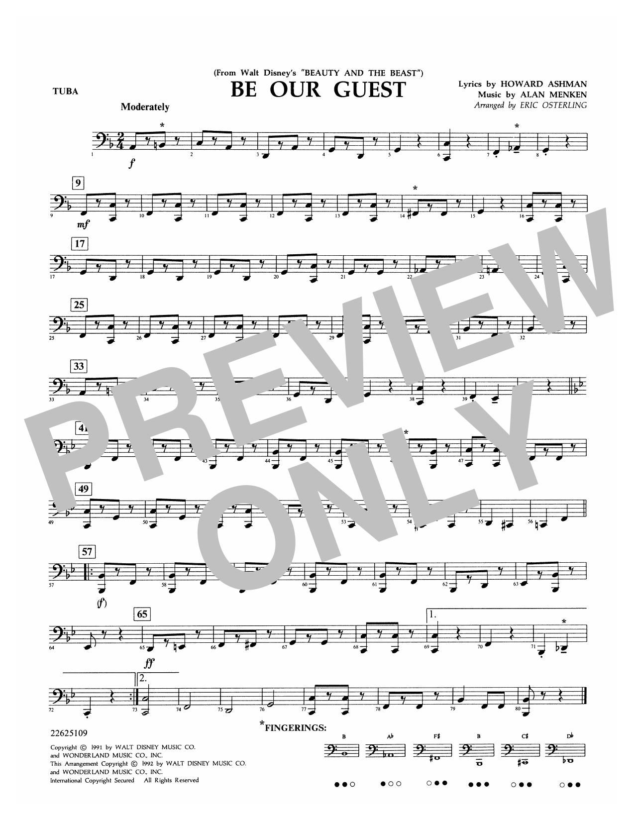 Be Our Guest (from Beauty And The Beast) (arr. Eric Osterling) - Tuba Sheet Music