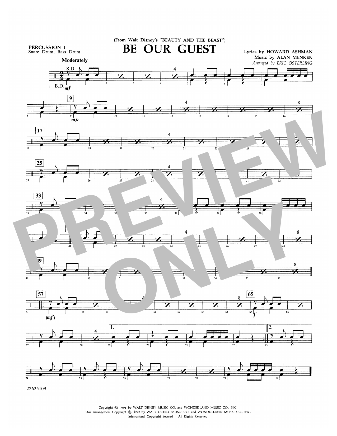 Be Our Guest (from Beauty And The Beast) (arr. Eric Osterling) - Percussion 1 Sheet Music