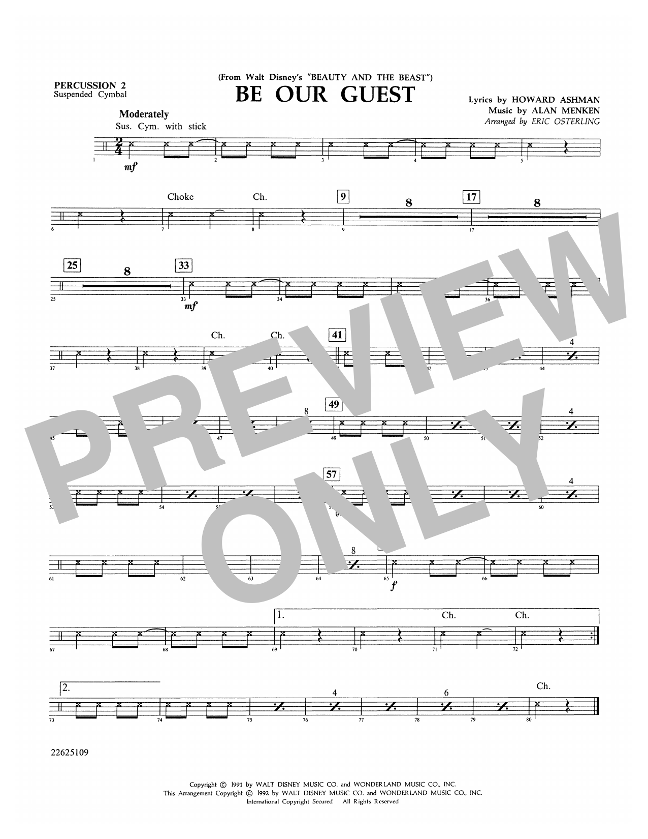 Be Our Guest - Percussion 2 Sheet Music