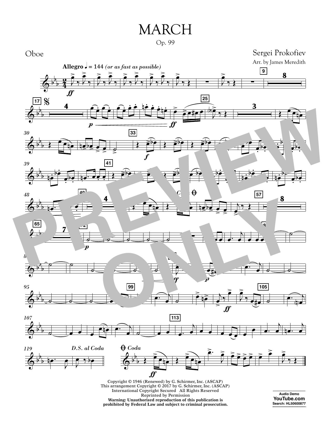 March, Op. 99 - Oboe Sheet Music
