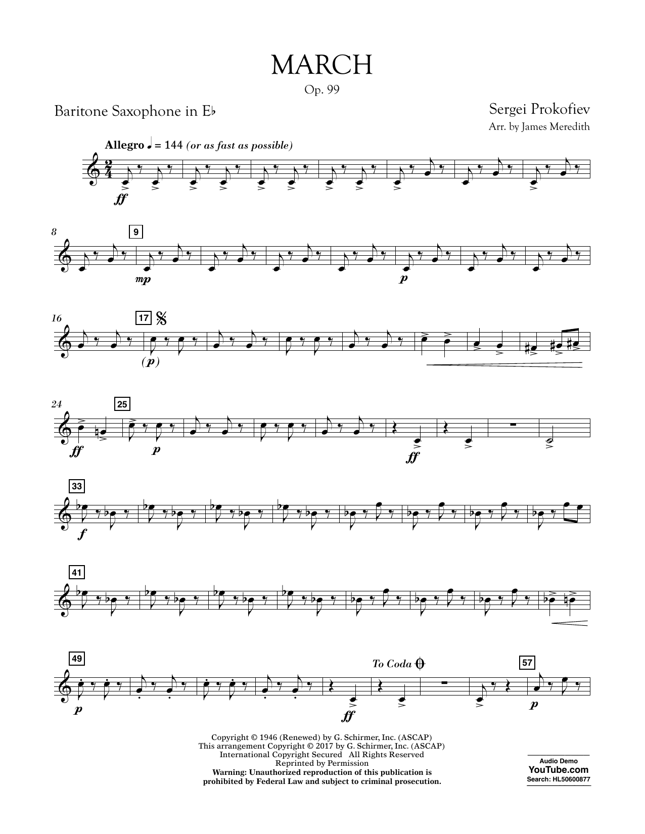 March, Op. 99 - Eb Baritone Saxophone Sheet Music