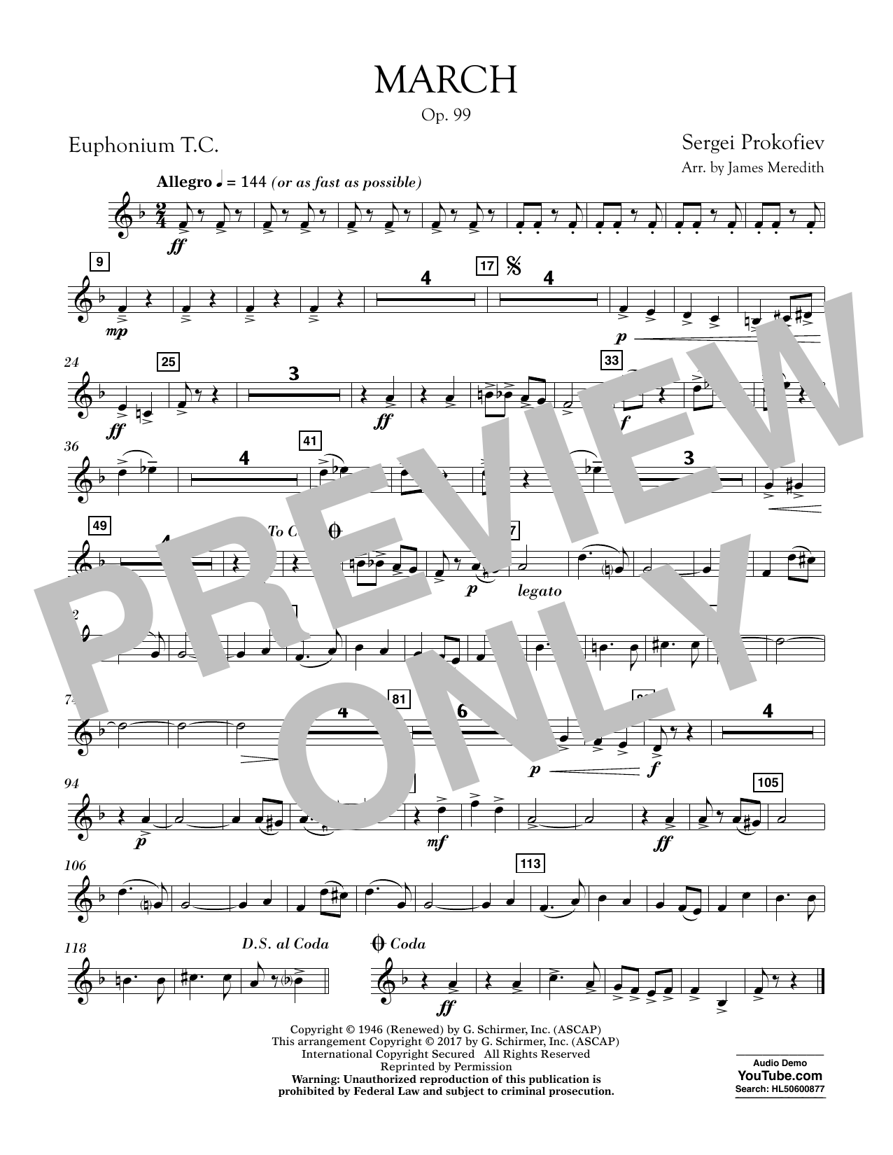 March, Op. 99 - Euphonium in Treble Clef Sheet Music