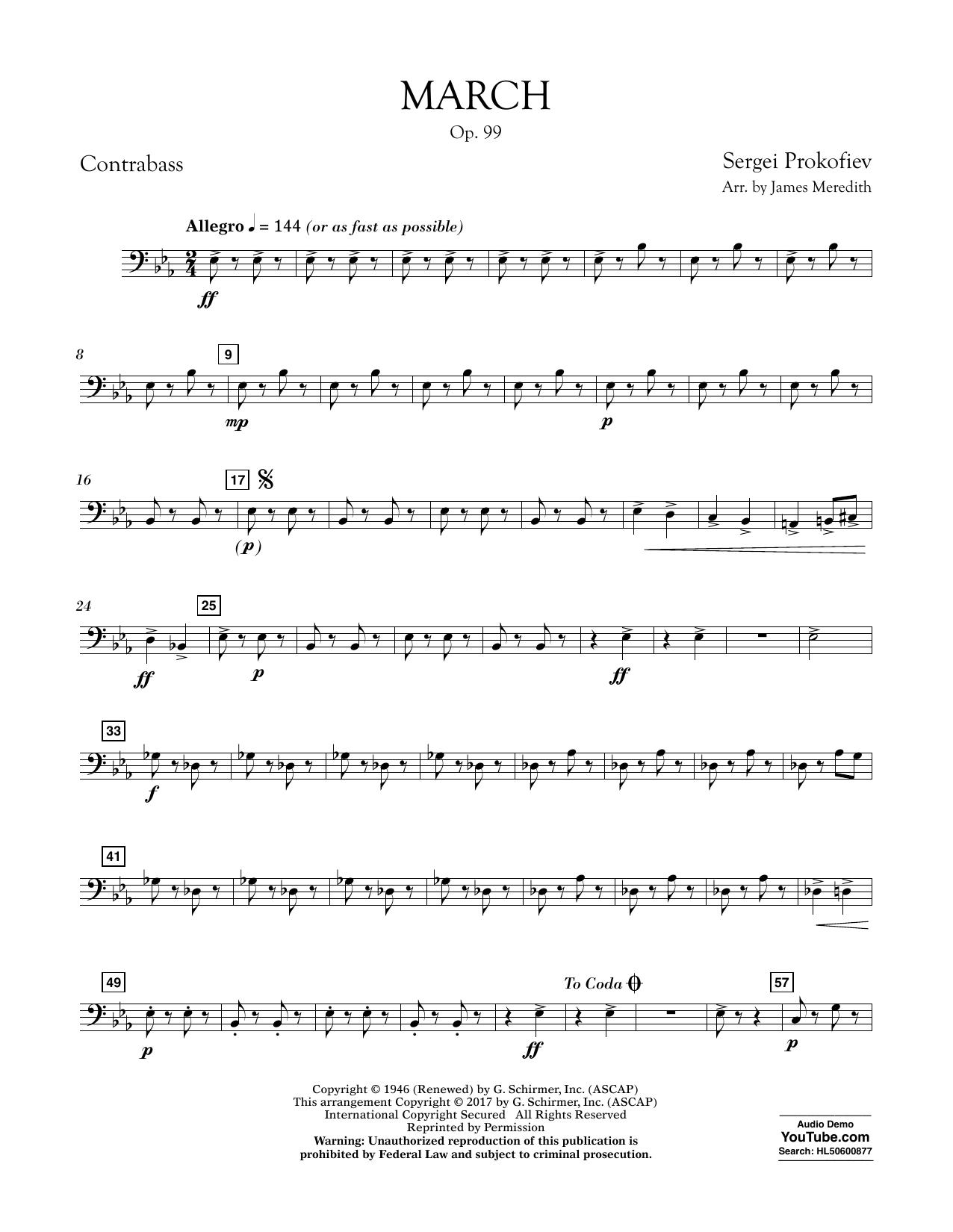 March, Op. 99 - Contrabass Sheet Music