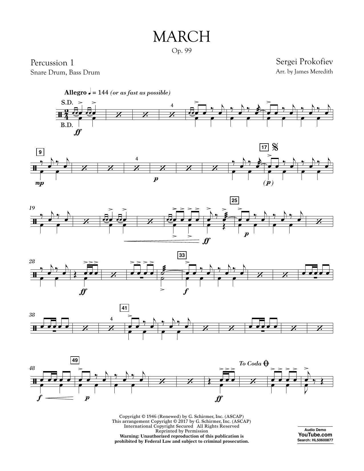 March, Op. 99 - Percussion 1 Partition Digitale