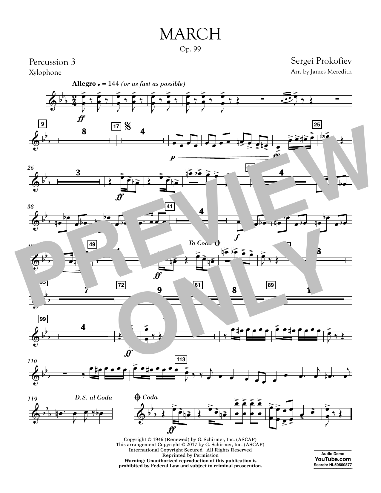 March, Op. 99 - Percussion 3 Sheet Music
