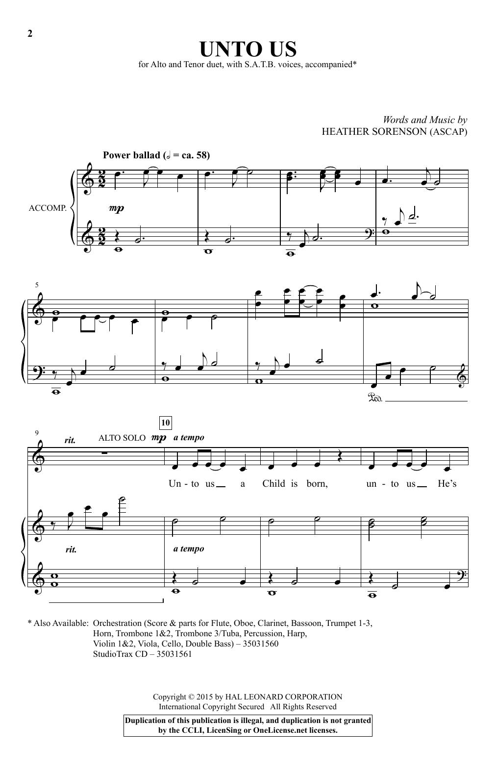Unto Us Sheet Music