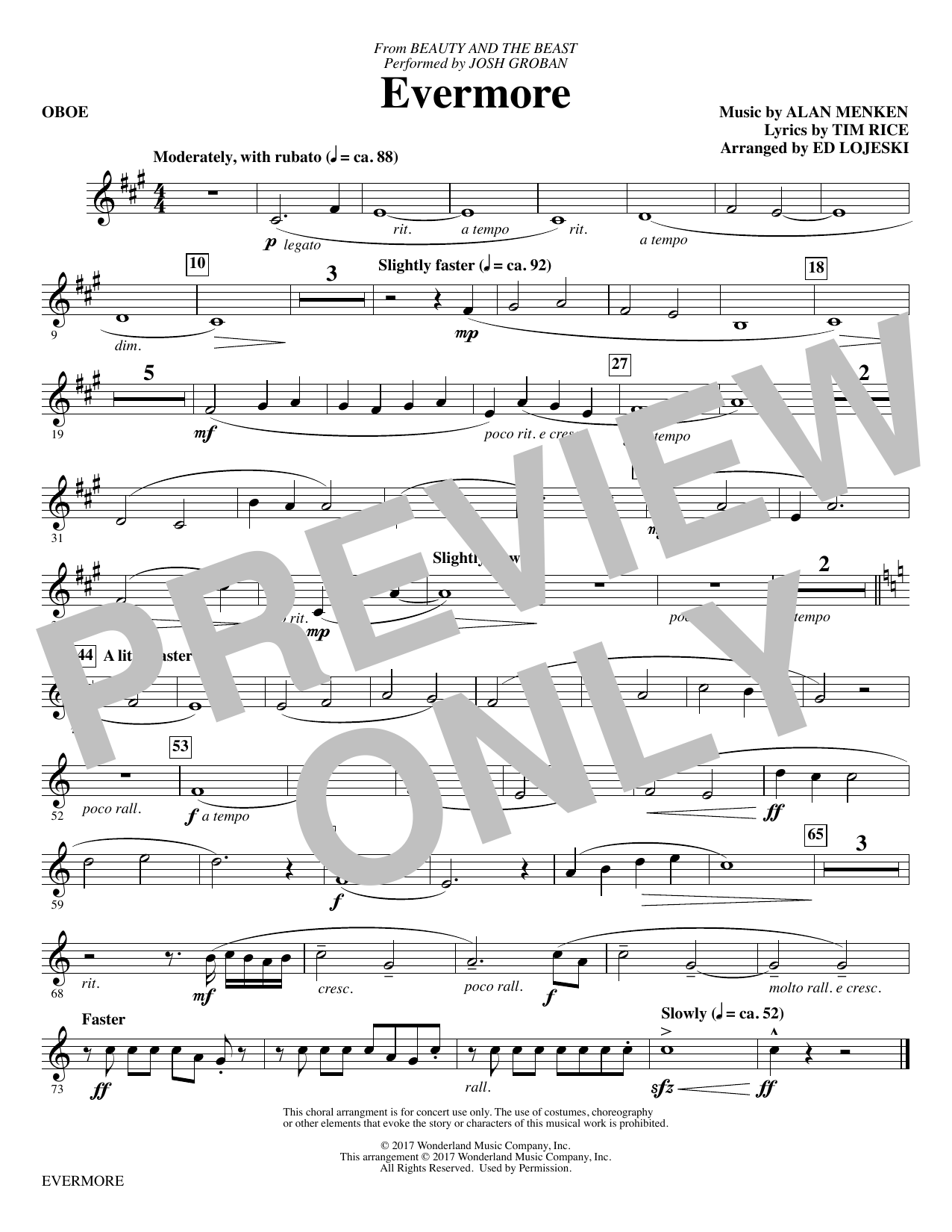 Evermore - Oboe Sheet Music
