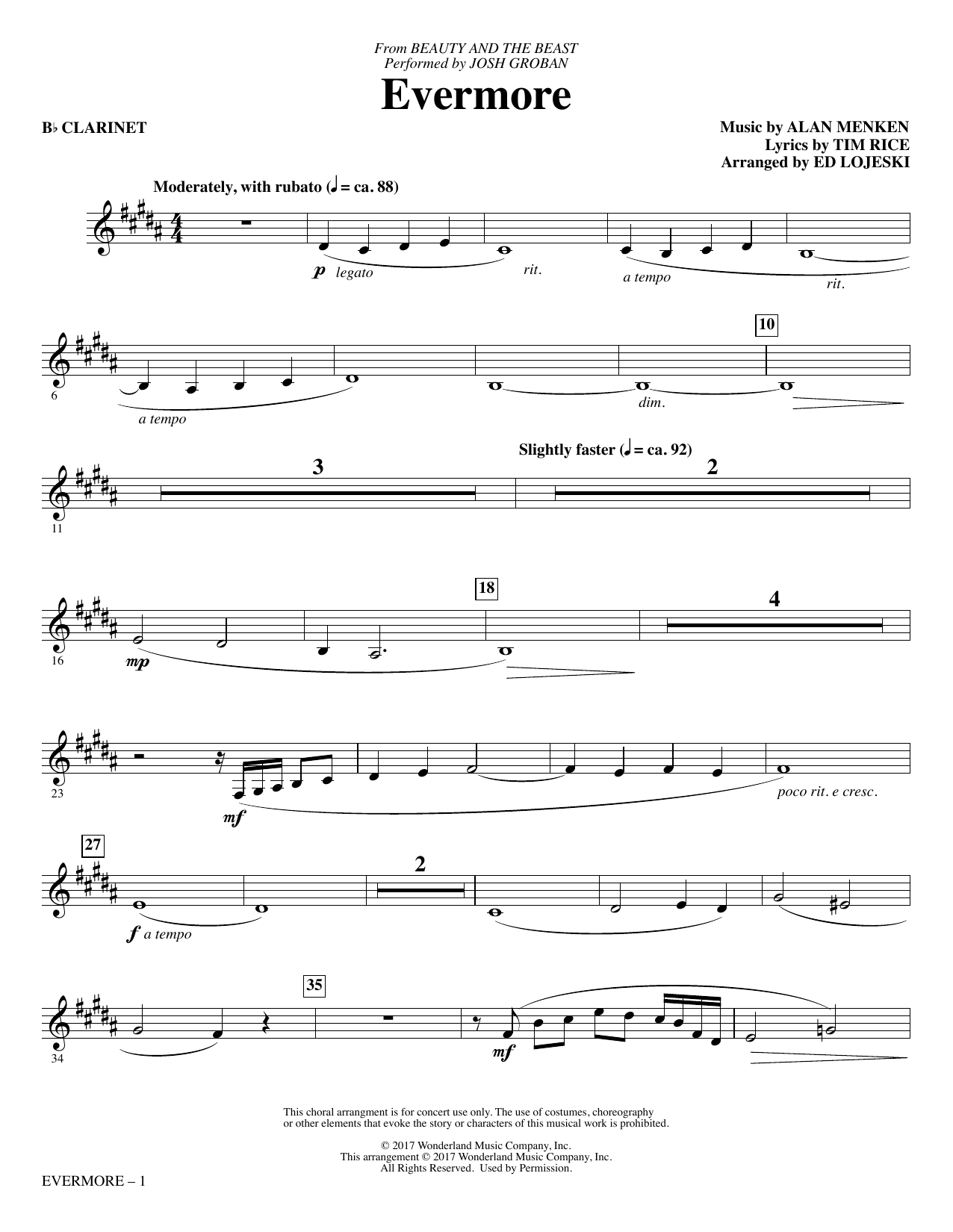 Evermore - Bb Clarinet Sheet Music