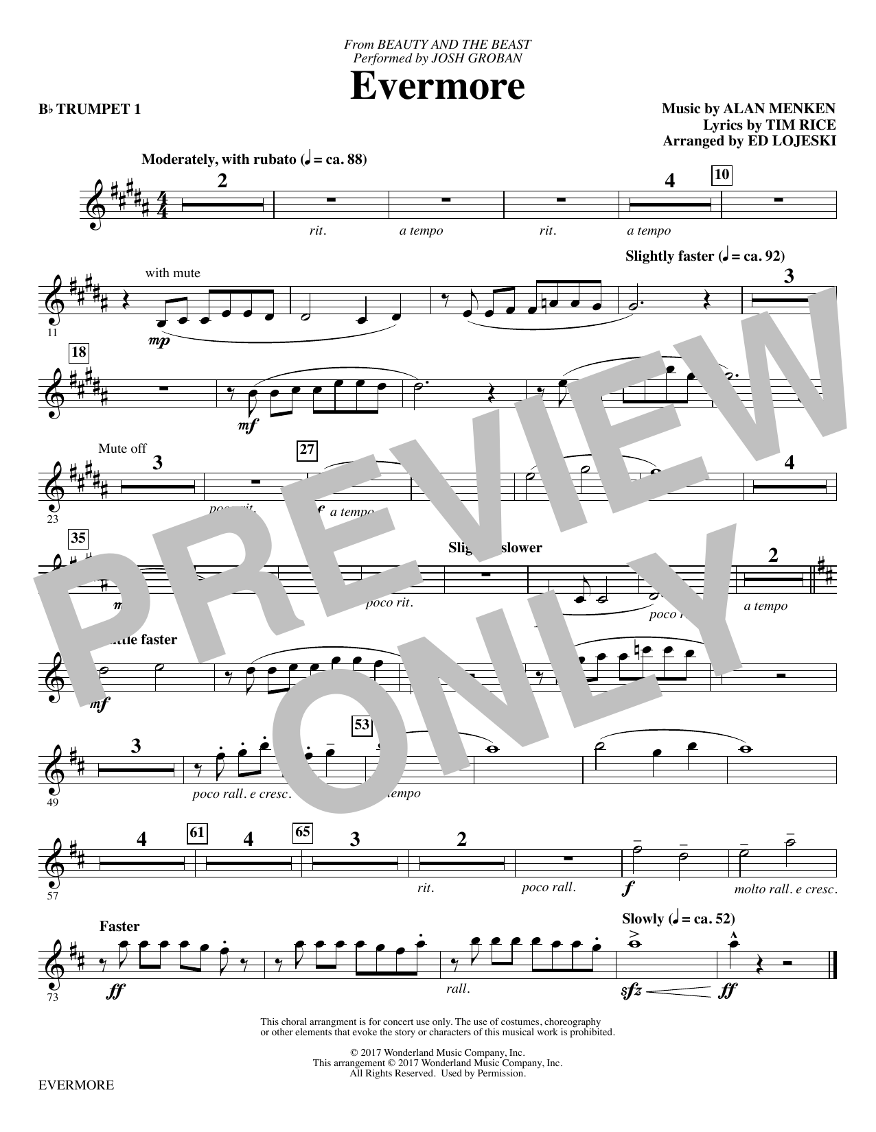 Evermore - Bb Trumpet 1 Sheet Music
